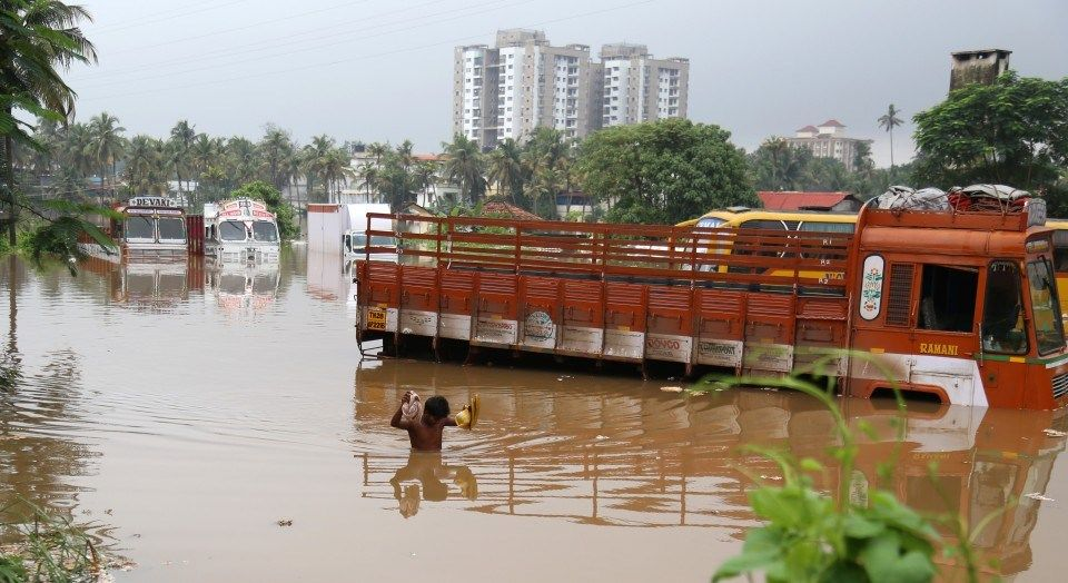 Strong floods in Kerala, India